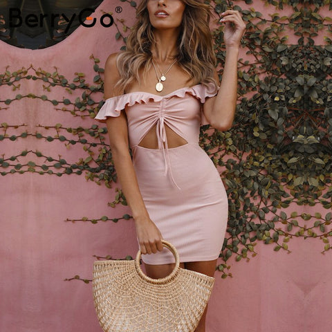 f9ce602582 Off shoulder ruffle Cut out drawstring backless bodycon dress