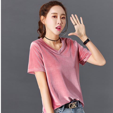 bacb2969d summer velvet v-neck t-shirt tops