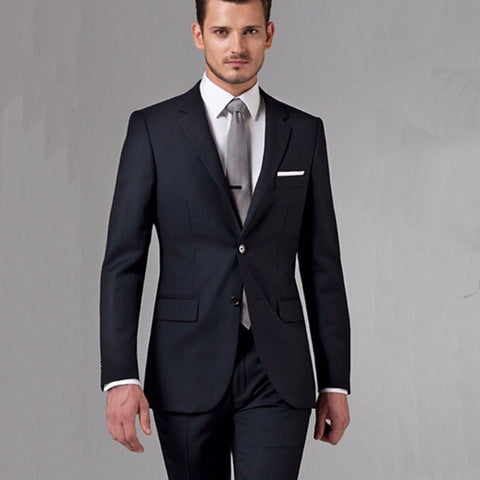 8e37a91349 Bespoke Classic Black Wedding Suits For Men WOOL Tuxedos For Men