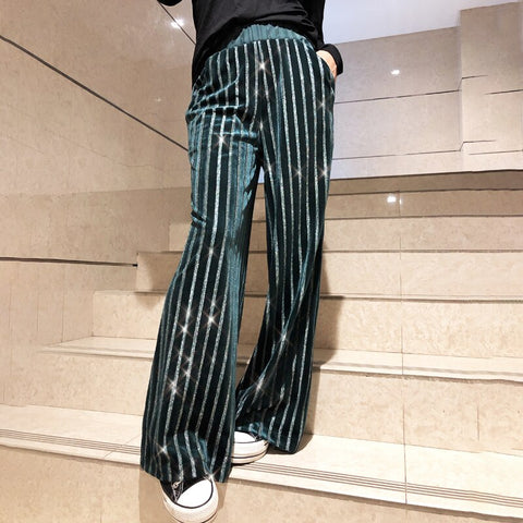 Bling Bling Sequin Hologram Wide Leg Loose Striped Pants SE