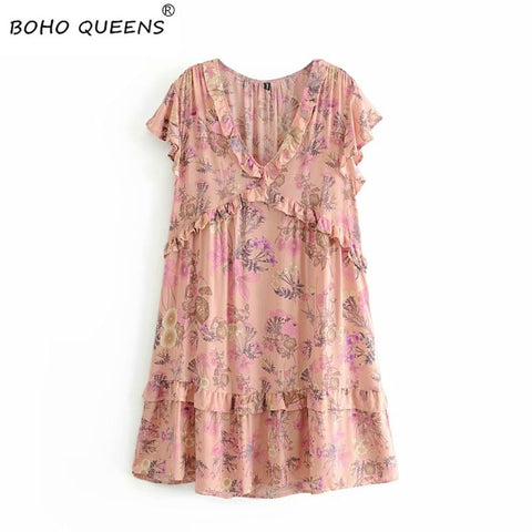 Boho floral print short sleeve v-neck ruffles tassel mini dress SE