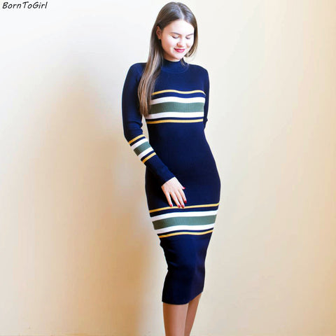 44c161908302 Elastic Knitted Winter Long Sleeve Black Green Navy Blue Sweater Dress