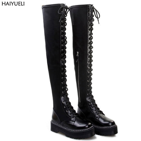 Over Knee Lace Up Thick Bottom Martin Boots Punk RI
