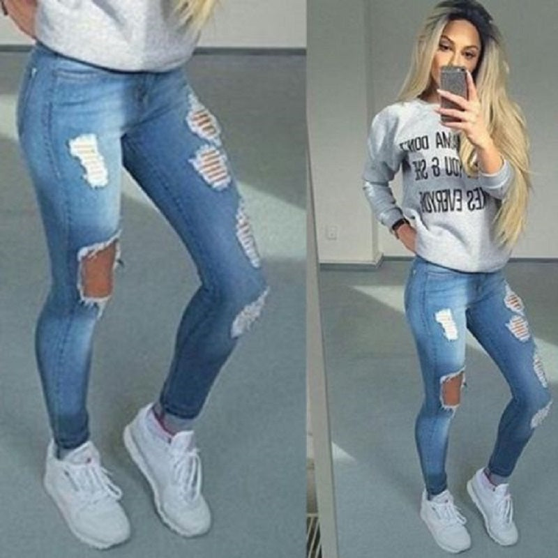 highly praised variety of designs and colors sports shoes Hole Ripped Jeans Women Pants Cool Denim Vintage Straight Jeans