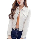 Jacket Women Long Sleeve Stretch Short Denim