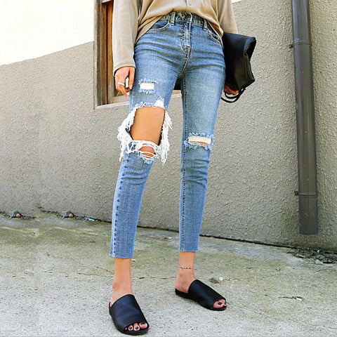d676cbbd2 Ripped Hole Skinny Pencil Jeans Pants SE