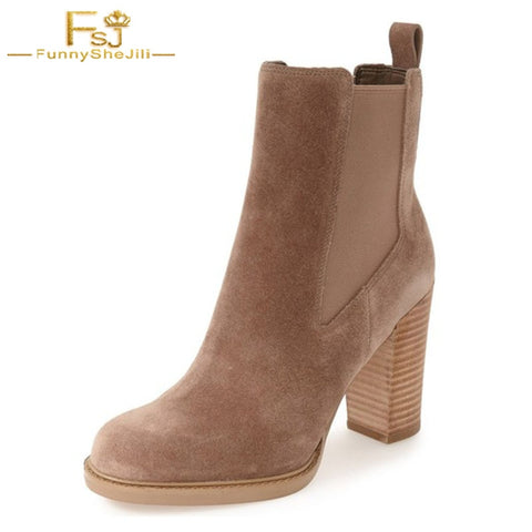 Suede Wooden Chunky Heel Chelsea Ankle Boots RI