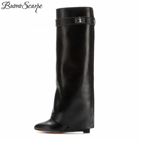 Fold Pointed Toe Wedges Metal Knee High Boots RI