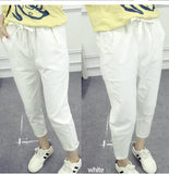 pants Waist Solid Calf Length  Pencil Summer New Pockets