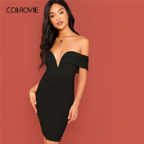 b92ba05093 Black Off Shoulder V Bodycon Mini Dress SE