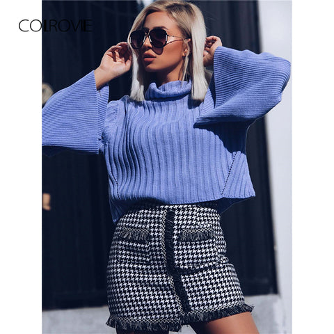 2f7d82d1527ddb Knit Flare Sleeve High Neck Pullovers Jumper Crop Sweater