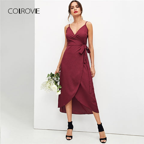 V Neck A Line Long Elegant Women Dress  SU