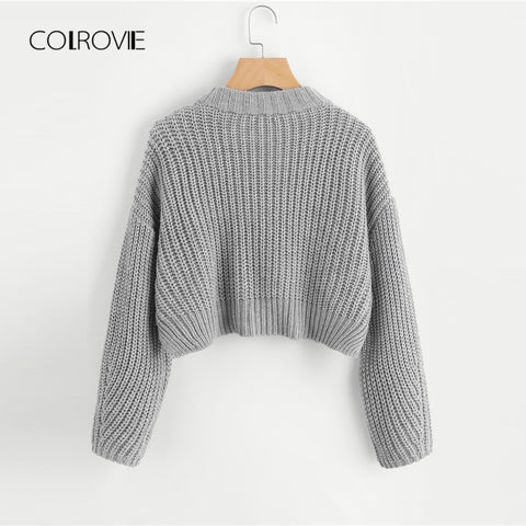 37098472d7 Grey Solid Casual Vented Chunky Knit Crop Women Sweater
