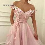 A-line Pink Flowers V-neck Off the Shoulder Evening Gowns Dress