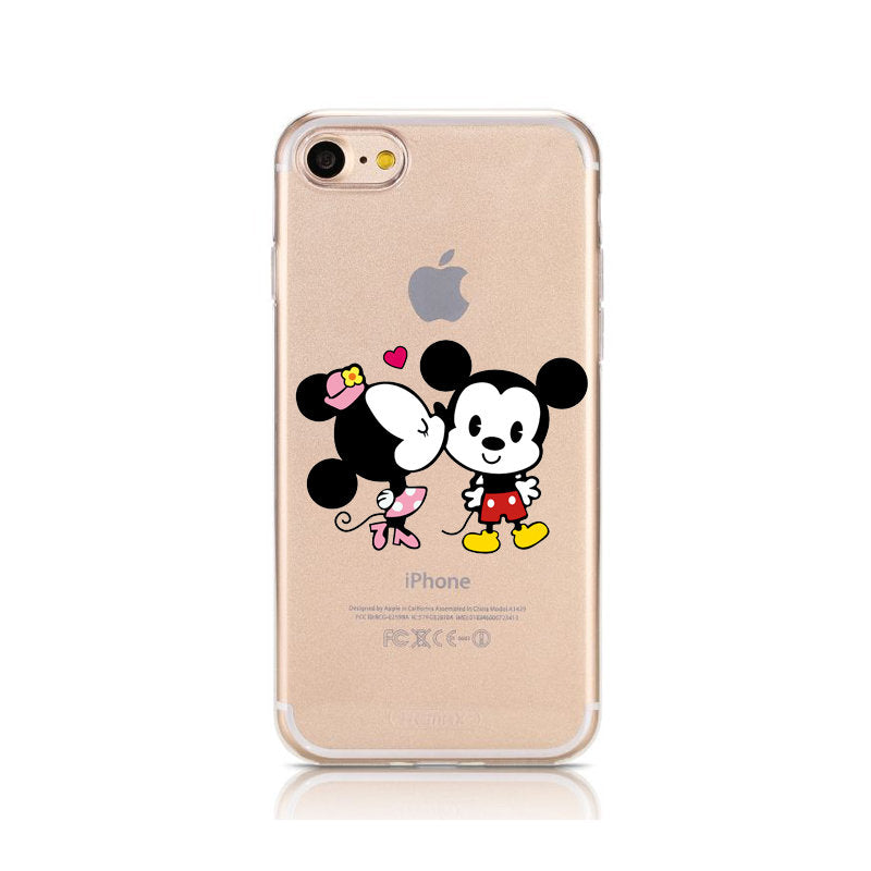 timeless design 248c4 d91c2 Cartoon Mickey Minnie Mouse Soft TPU Silicone Clear Phone Case For ...