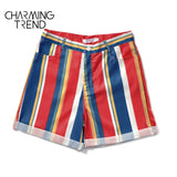 striped pocket high waist chic retro bottom Short pants SE