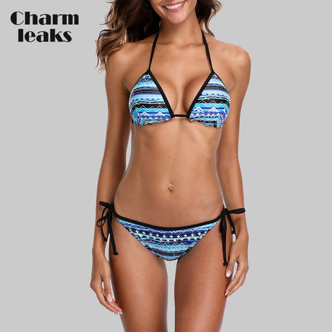 Vintage Print Tribal Side Bandage Strappy Bikini Set RI