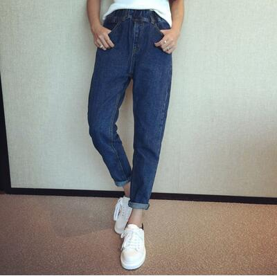 Elastic Waist Pockets Knitted Jeans Pants