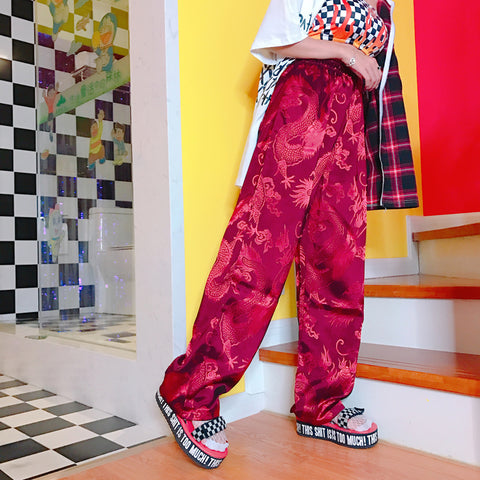 pants Dragon Embroidery Satin Wide hiphop loose pantalon femme 502457391cc
