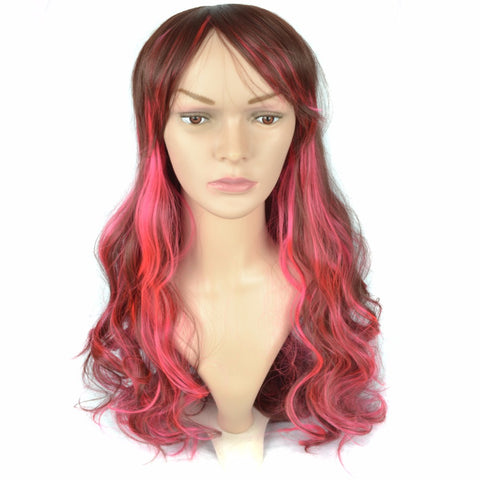 ed299a2fcaca50 Long Ombre Brown Blonde Black White Hair Rose Red Gray Blue Wigs