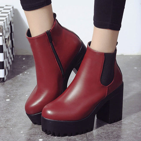 Ankle Boots Platform Zip Chelsea Shoes PU22