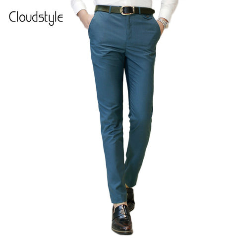 918aa3c4 Blue Pants Smart Casual Style Pants Slim Fit Formal Trouser
