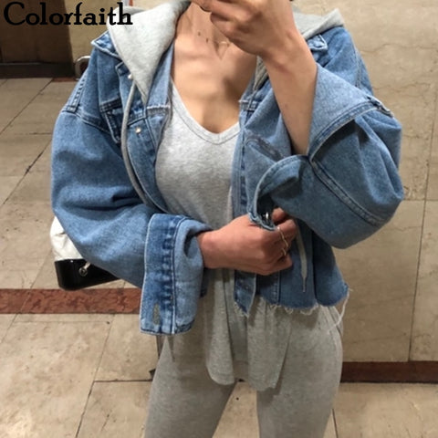 Patchwork Hooded High Street Denim Jackets RI
