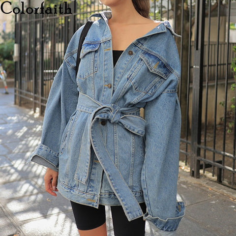 Sashes Lace Up Denim Jackets RI