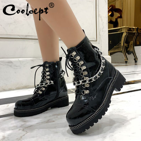 Genuine Leather Punk Flats Metal Chain Rivets Zip Gothic Boots SE