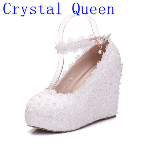 555d2161e02e White Flower Lace Pearl Wedges Shoes RI