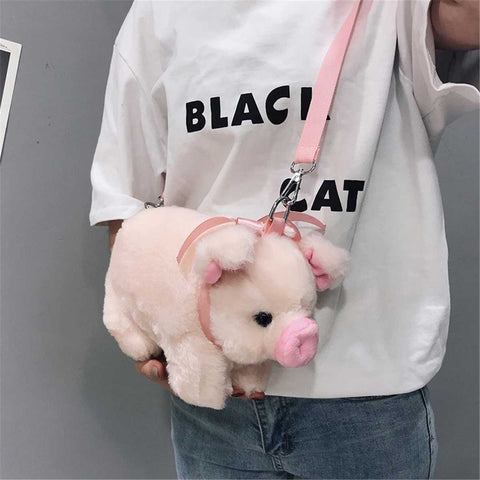 Cute Cartoon Fluffy Pink Pig Sling Animal Fur Crossbody Bag SE