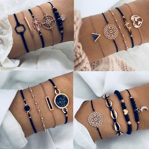 Bohemian Black Beads Heart Gold Chain Bracelets Sets SE