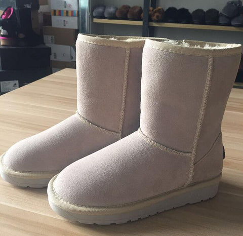 Ankle Fur Genuine Leather Slip On Snow Boots