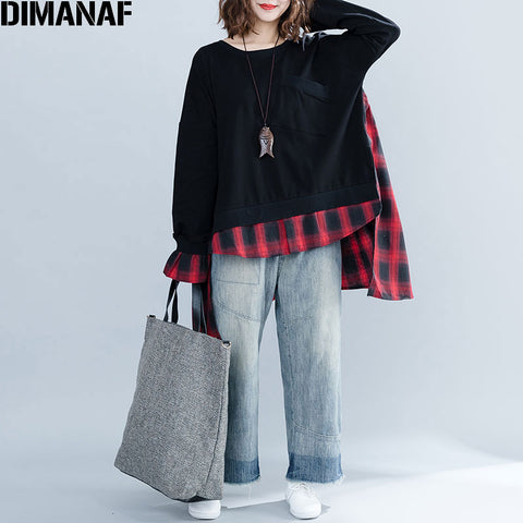 Patchwork Red Black Plaid O-Neck Loose Tops RI