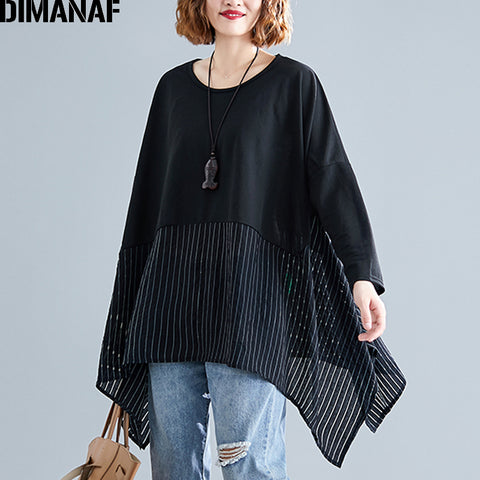 Striped Spliced Long Sleeve Loose Shirts RI