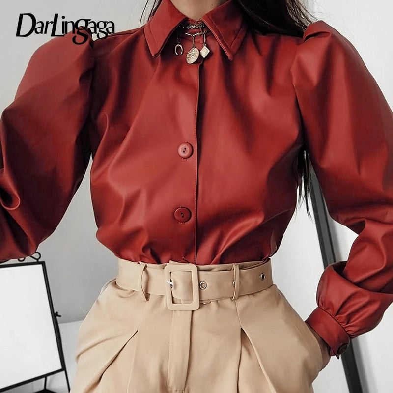 Puff Sleeve PU Leather Blouse Shirt Buttons Crop Top SE