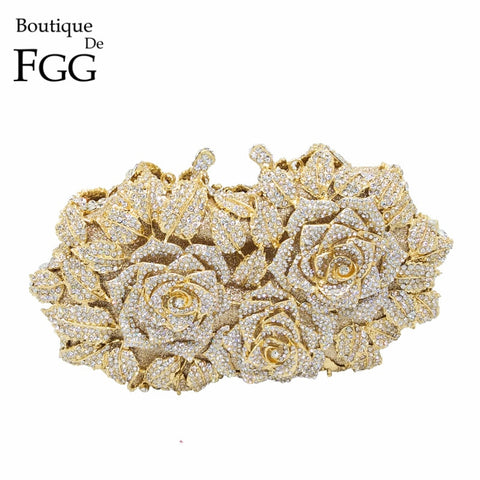 Gold Rose Flower Hollow Out Crystal Clutches Small Handbag Purse Bag SE