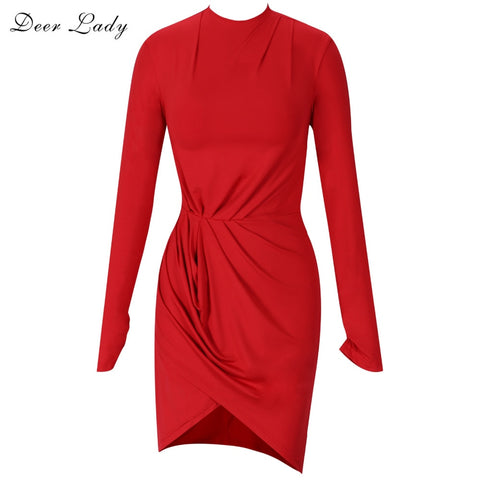 c42afae29ca Long Sleeve Bodycon O Neck Red Satin Mini Dress – deevybuy