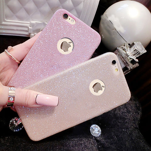 Diamond flash Glitter case For iPhone X 8 5 5S SE 6 6S 7 Plus Ultra Thinr Bling Cute Candy Cover Crystal Soft Gel TPU Phone