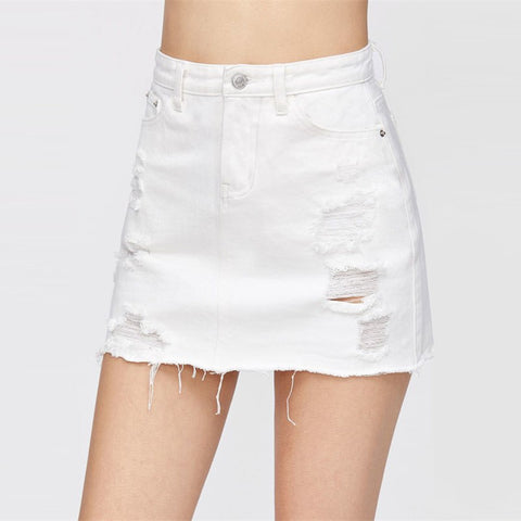 d8c8ca79787d Denim Skirt Ripped Bottom Mid Waist Sheath Short Plain Skirt