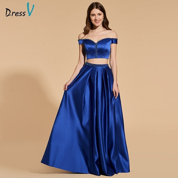 349a629ace5ad Off Shoulder dark blue beading long prom crop top zipper two pieces gown  dress