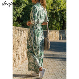 Long Sleeve Casual Chiffon Boho Floral Print Maxi Dress SE