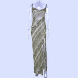 snake print chiffon long slip maxi sheer slit Dress SE