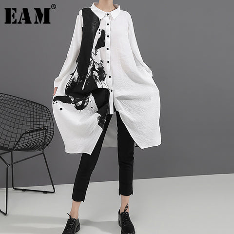 Black White Print Lapel Long Sleeve Loose Dress RI