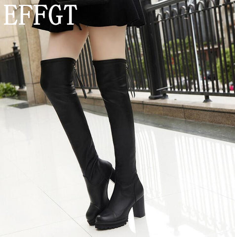 Over the knee high heels round leather boots