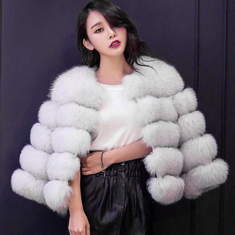 Fur White Coat Crop Jacket SE