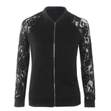 Jackets New Arrival Autumn Ladies Solid Lace Stitching Baseball