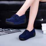 Shoes Flat Platform Loafers Ladies Elegant Suede