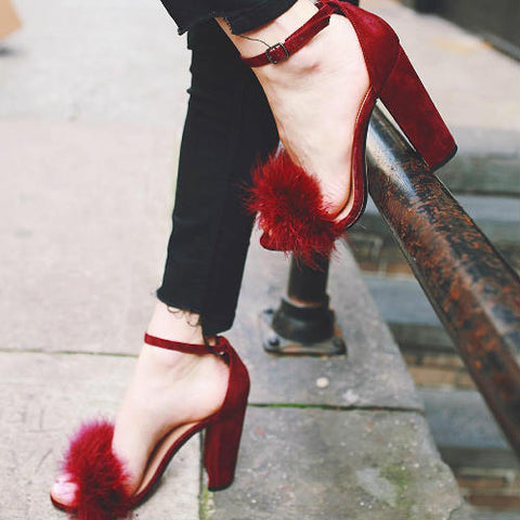 Suede Fur Ankle Strap Thick Heel Sandals RI
