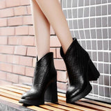 Leather Cowhide High Top Pointed Toe Zip Heel Boots SE